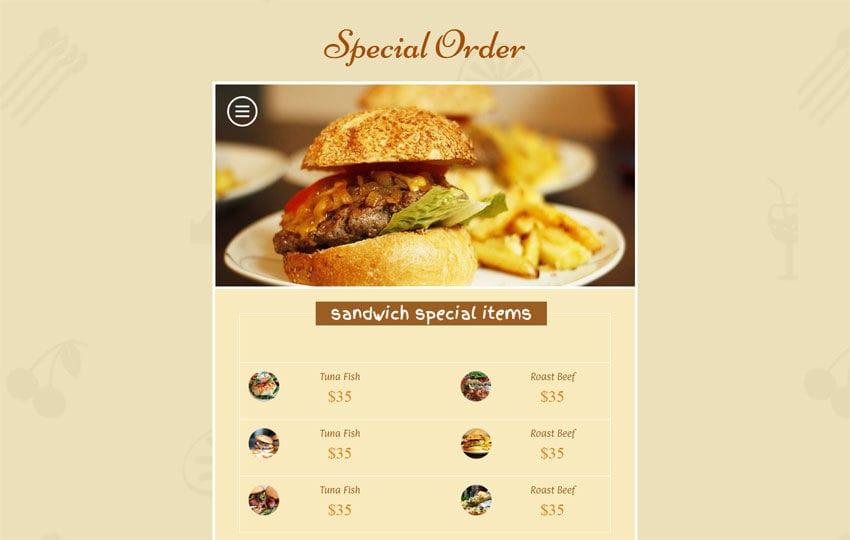 Special Order Responsive Widget Template