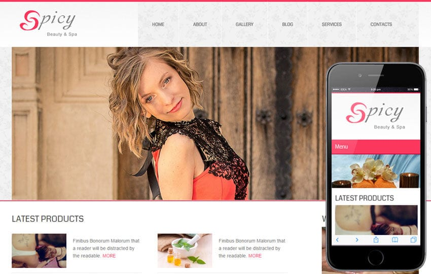 Spicy Beauty Spa Mobile Website Template
