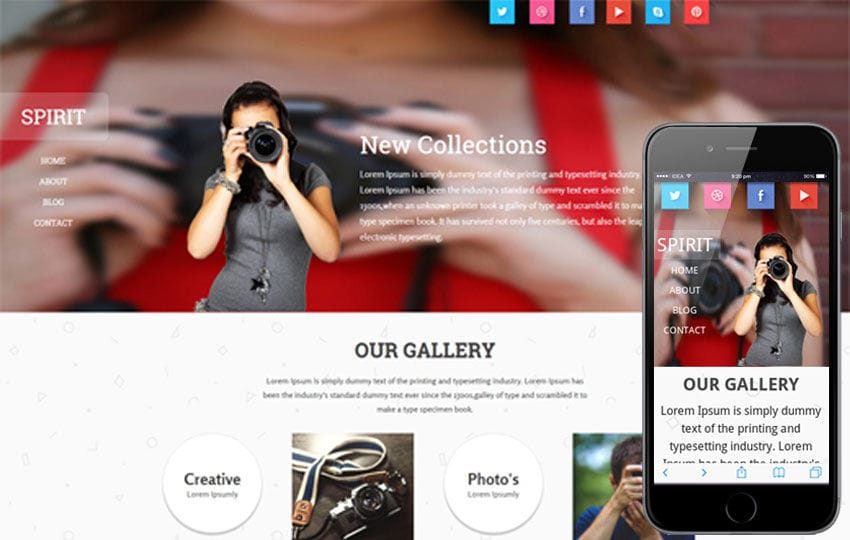 Spirit a Photographer portfolio Flat Responsive web template Mobile website template Free