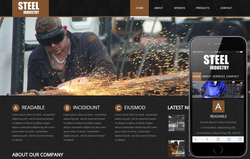 Steel a Industrial Mobile Website Template by w3layouts