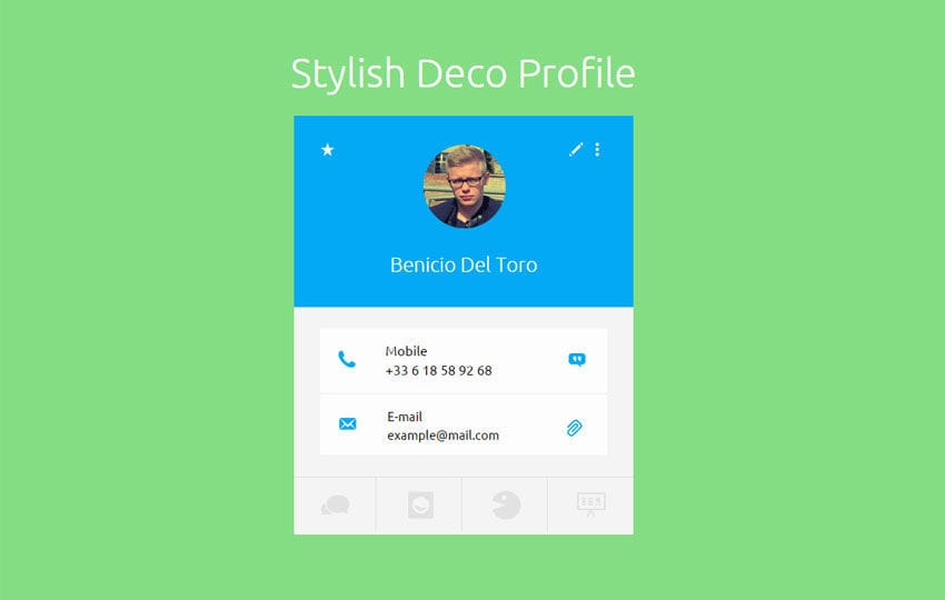 Stylish Deco Profile Widget Responsive Template