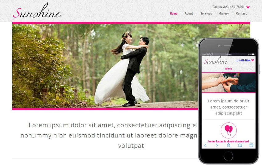 Sunshine a wedding planner Mobile Website Template Mobile website template Free