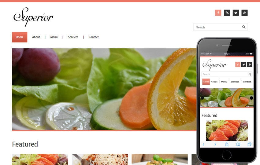 Superior a Restaurant Mobile Website Template Mobile website template Free