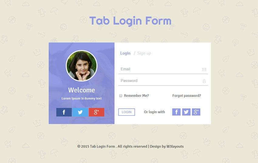 Tab Login Form Responsive Widget Template