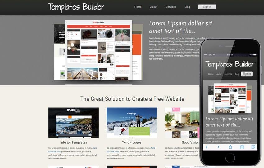 New Template Builder web template and mobile website template for free Mobile website template Free