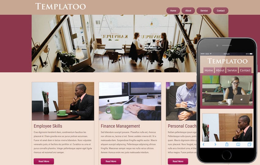 Free Templatoo web template and Mobile website for corporate companies Mobile website template Free