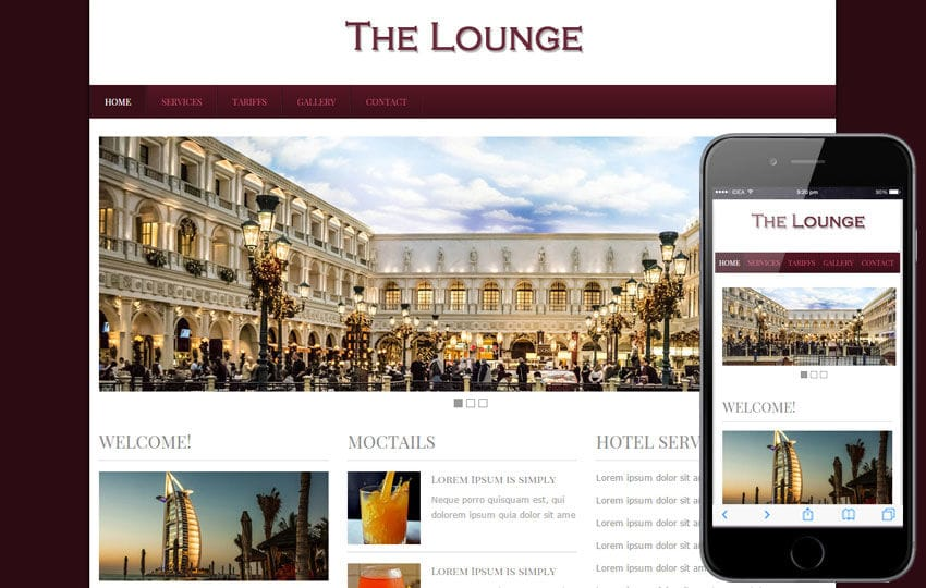 The Lounge Hotel webTemplate and Mobile webtemplate for free Mobile website template Free