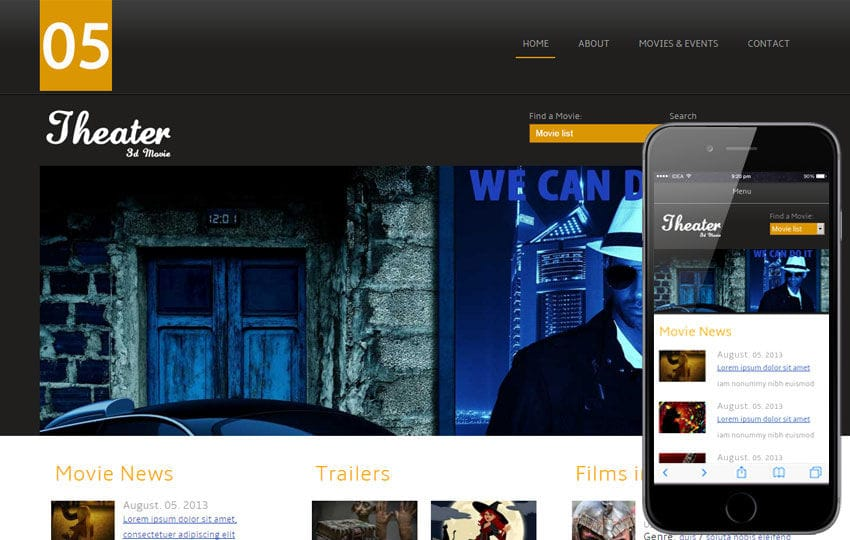 Theater Entertainment Mobile Website Template Mobile website template Free