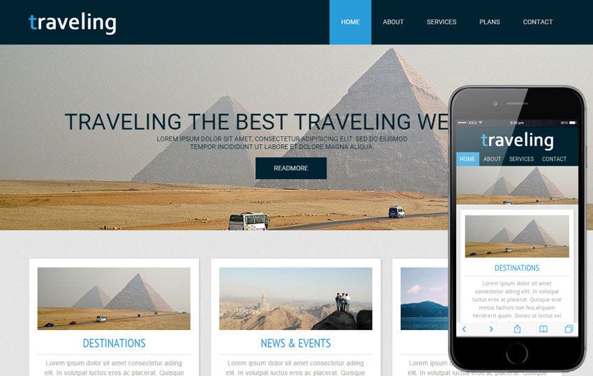 Traveling a travel guide Mobile Website Template Mobile website template Free