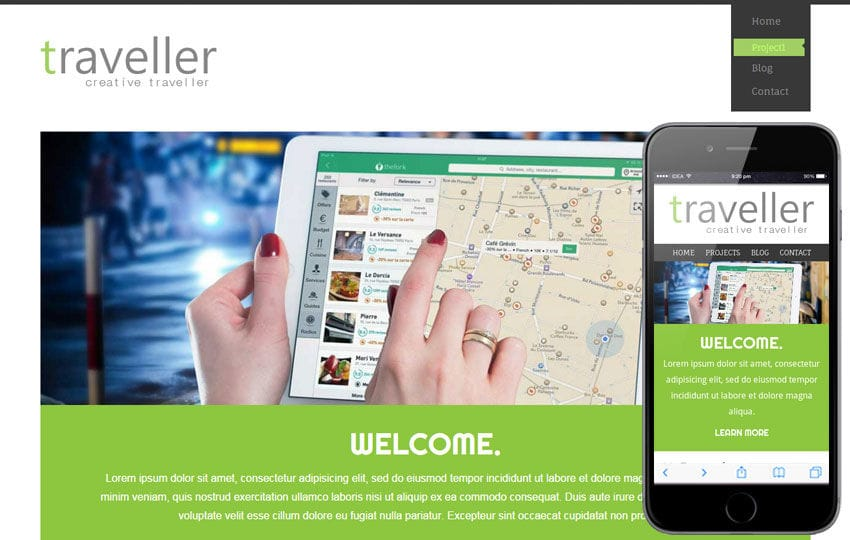 Traveller a travel guide Mobile Website Template Mobile website template Free
