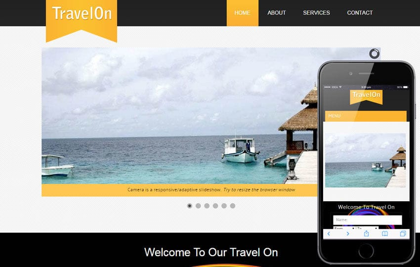 Travel On a travel guide Mobile Website Template Mobile website template Free