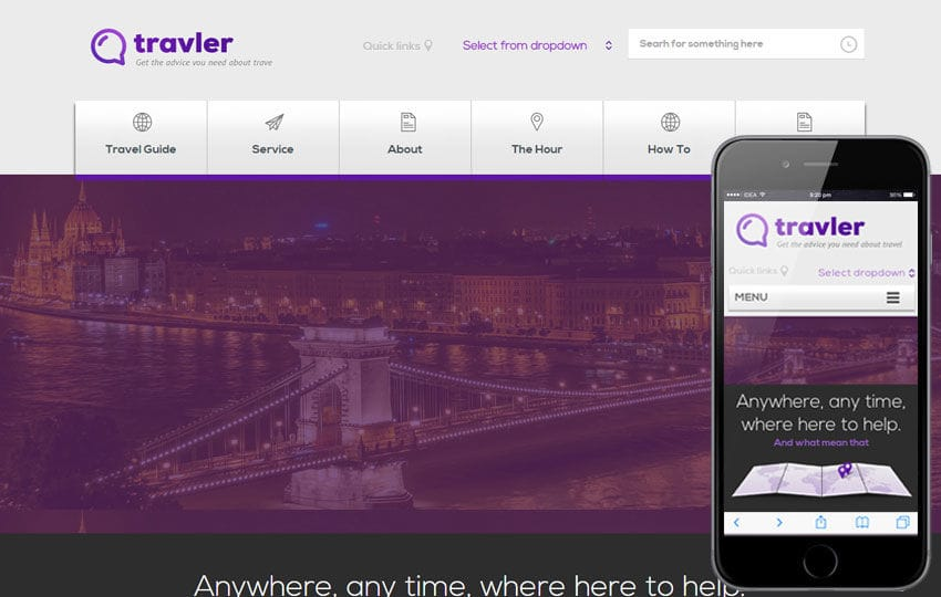 Traveler a travel guide Responsive web template