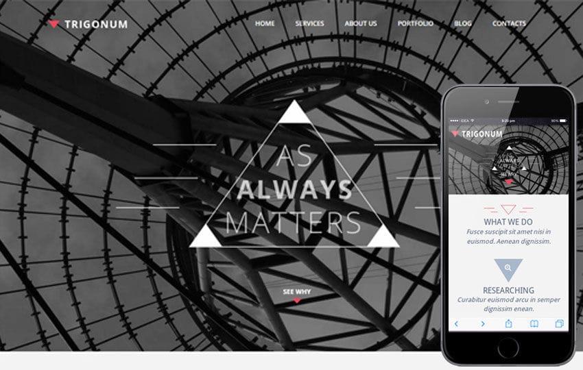 Trigonum a Corporate Portfolio Flat Bootstrap Responsive web template Mobile website template Free