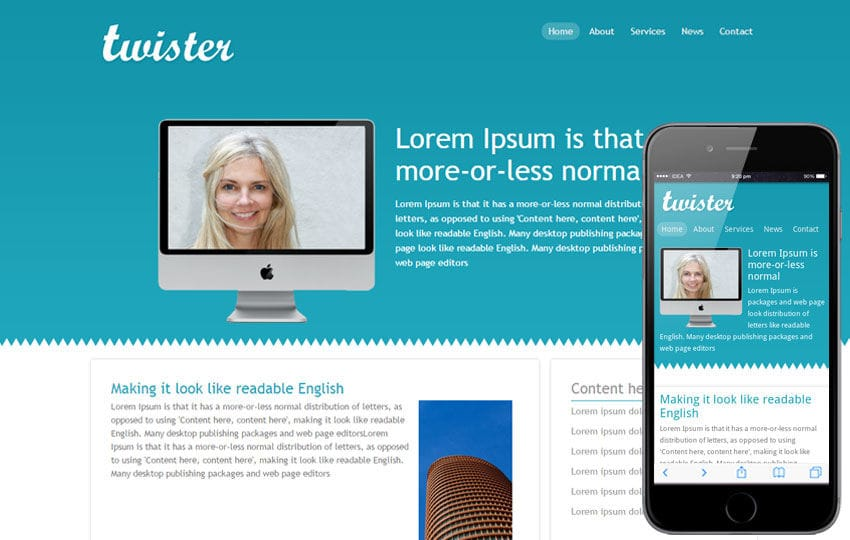 Twister Corporate Website and Mobile Template Mobile website template Free