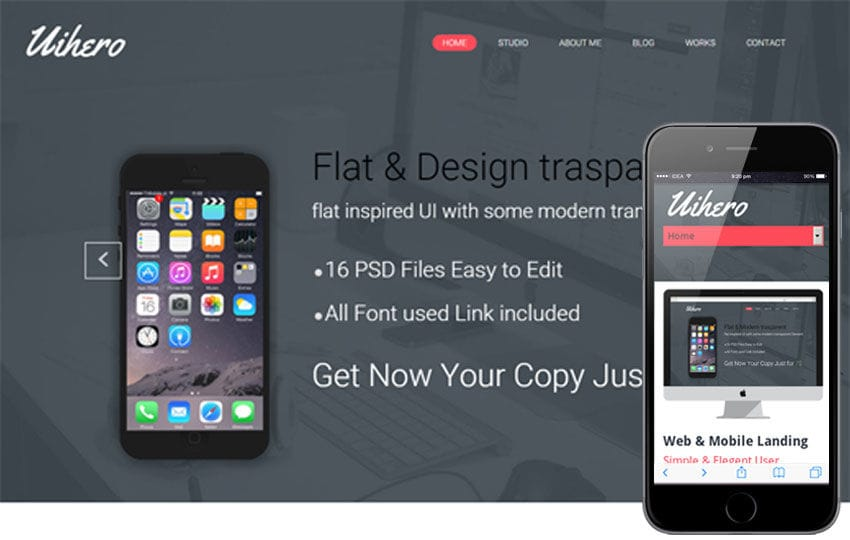 UI Hero a Corporate portfolio Flat Responsive web template Mobile website template Free