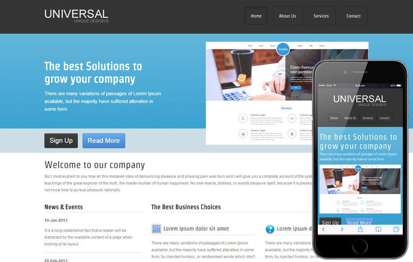 Free universal web template and mobile website template for corporate companies