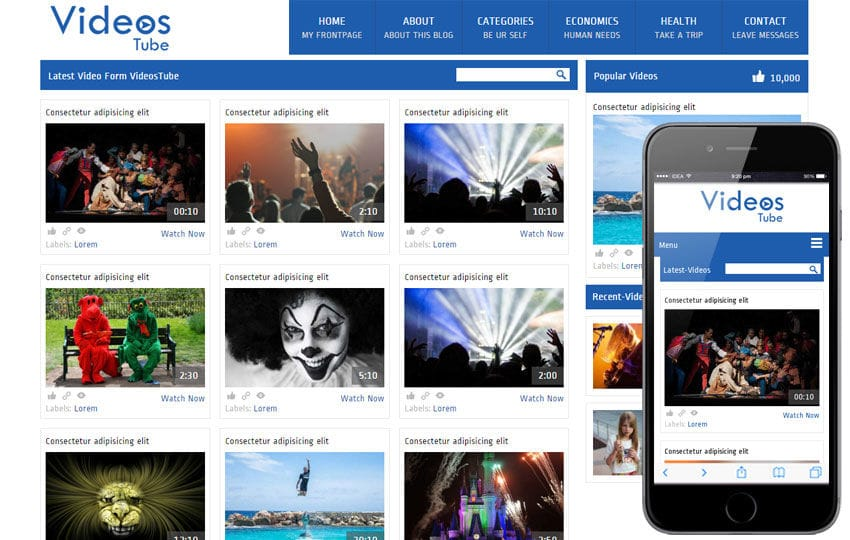 Videostube video gallery Mobile Website Template Mobile website template Free