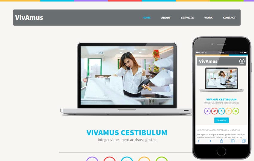 VivAmus a Corporate Portfolio Flat Bootstrap Responsive web template Mobile website template Free