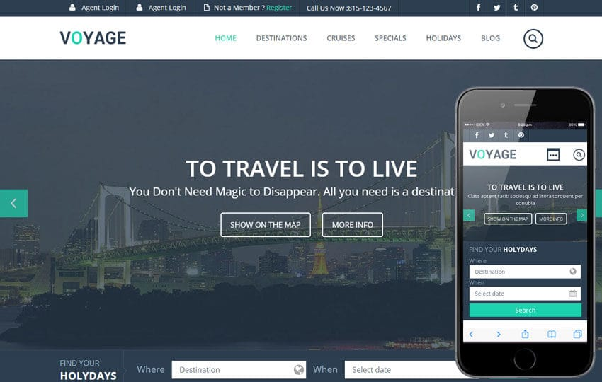 Voyage a Flat Travel Responsive Web Template Mobile website template Free