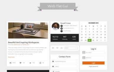 Web Flat Gui UI Kit Responsive Web Template