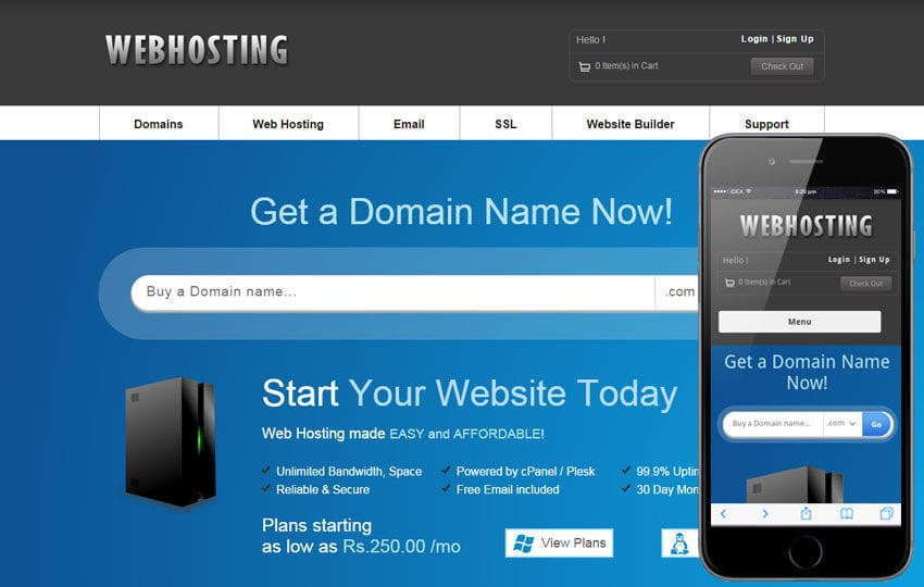 Web Hosting Domain sales Mobile Web Template