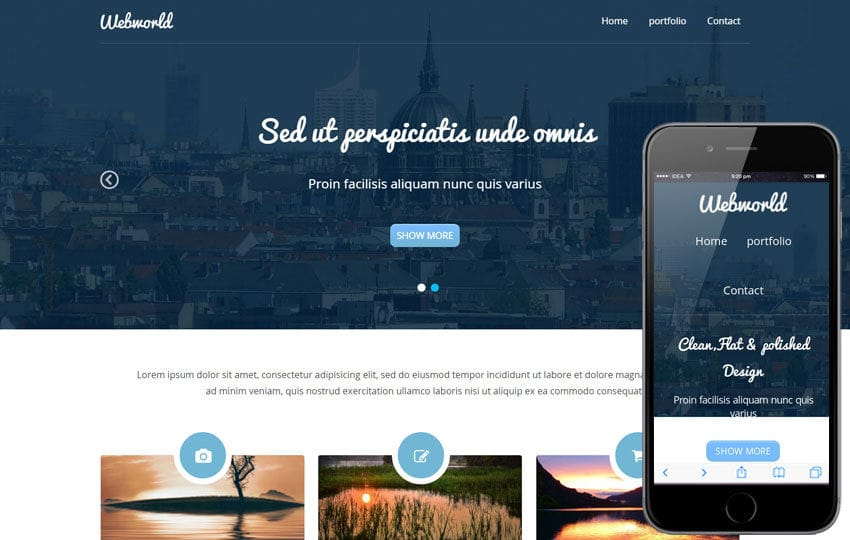 Webworld Corporate Flat Responsive web template Mobile website template Free