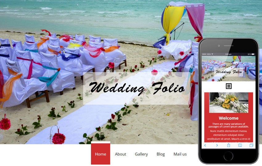 Wedding folio a Flat Wedding Planner Bootstrap Responsive Web Template Mobile website template Free