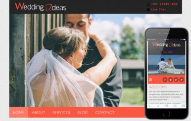 Wedding Ideas a wedding planner Mobile Website Template
