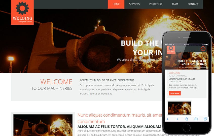 Welding a Industrial Portfolio Flat Bootstrap Responsive web template