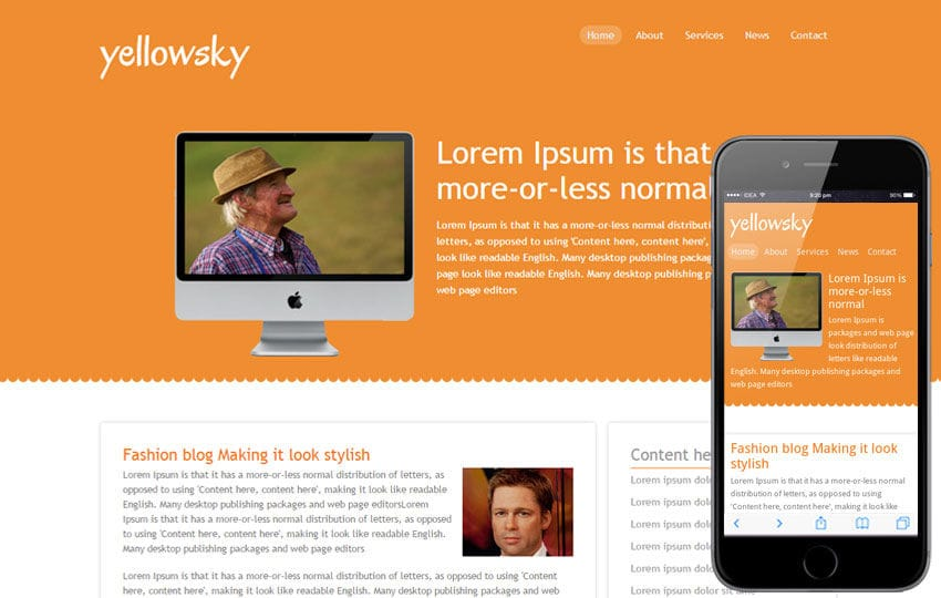 Yellowsky – blogging website and mobile Template for free