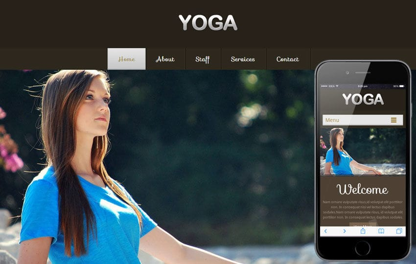 Yoga a Health and Fitness Mobile Website Template Mobile website template Free