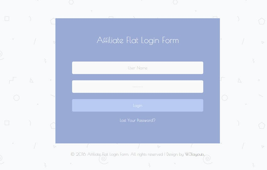 Affiliate Flat Login Form Responsive Widget Template