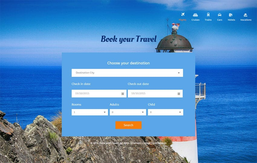 Book Your Travel Responsive Widget Template Mobile website template Free