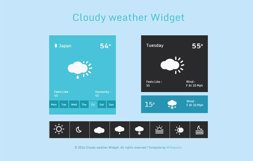 Cloudy weather Widget Responsive Template Mobile website template Free