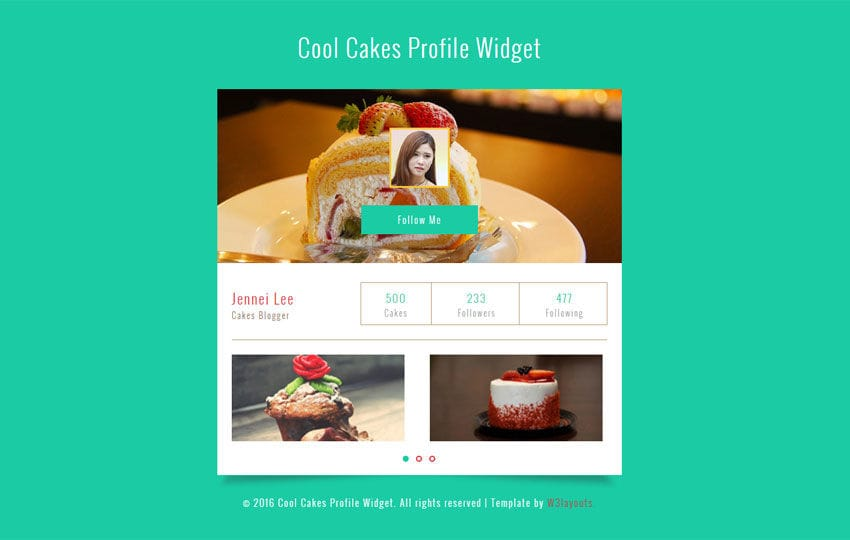 Cool Cakes Profile Widget Responsive Template Mobile website template Free