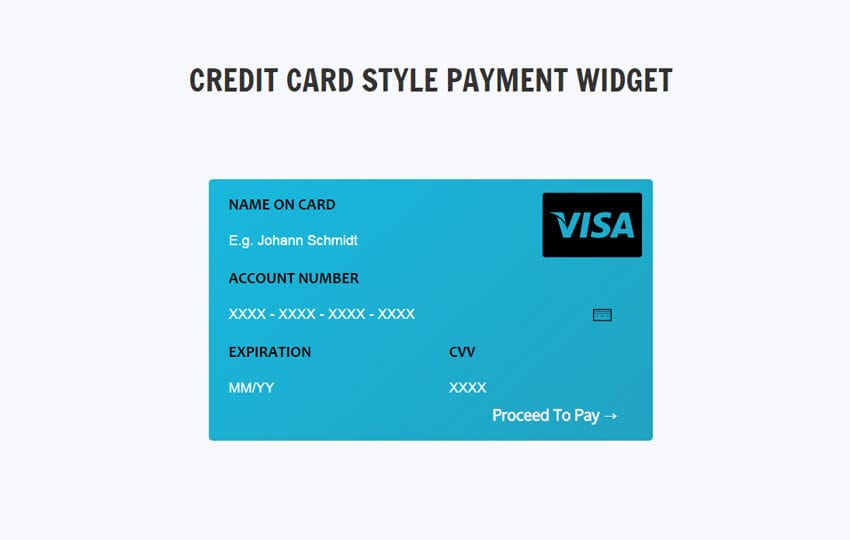 Credit Card Style Payment Widget Responsive Template Mobile website template Free
