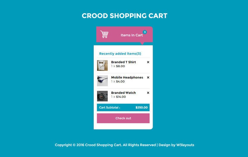 Crood Shopping Cart Responsive Widget Template