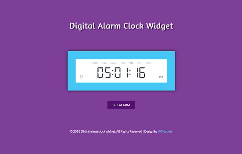 Digital Alarm Clock Responsive Widget Template