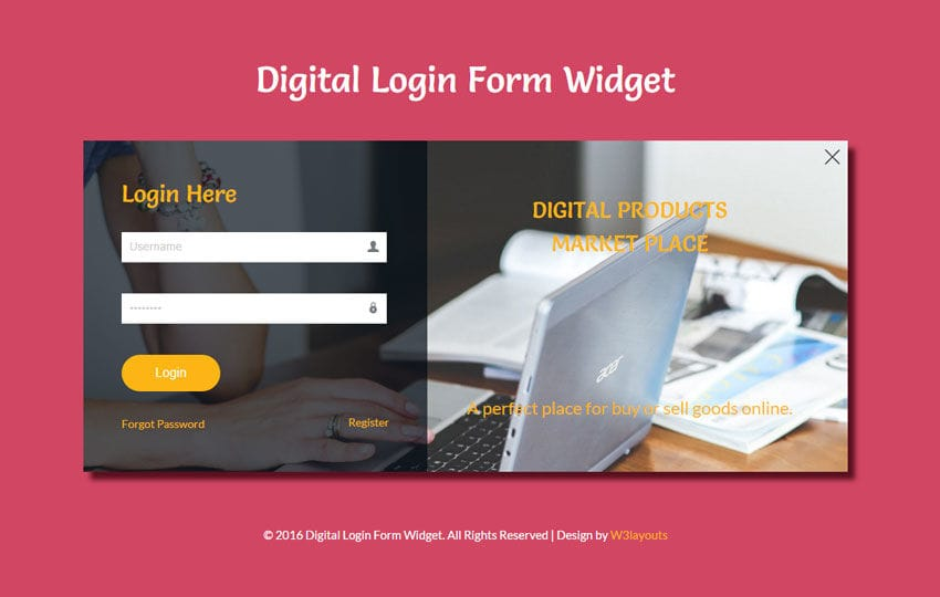Digital Login Form Responsive Widget Template