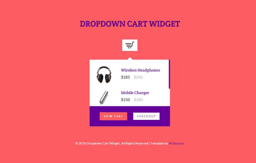 Dropdown Cart Responsive Widget Template Mobile website template Free