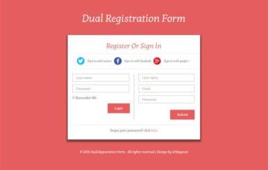 Dual Registration Form Responsive Widget Template
