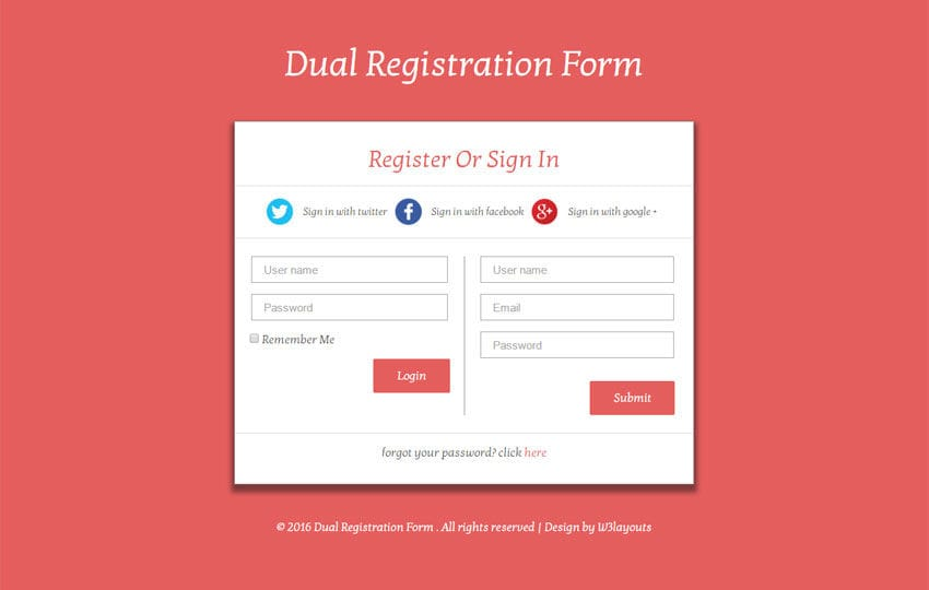 Dual Registration Form Responsive Widget Template Mobile website template Free