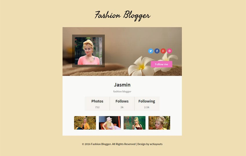 Fashion Blogger Responsive Widget Template Mobile website template Free