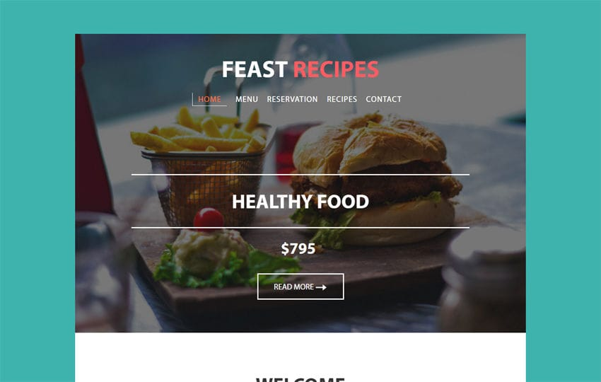 Feast Recipes a Newsletter Responsive Web Template Mobile website template Free