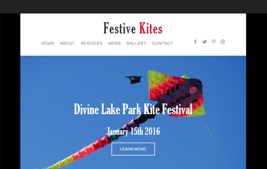 Festive Kites a Newsletter Responsive Web Template Mobile website template Free