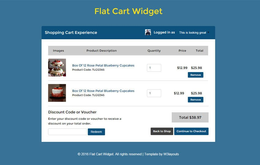 Flat Cart Widget Responsive Template Mobile website template Free