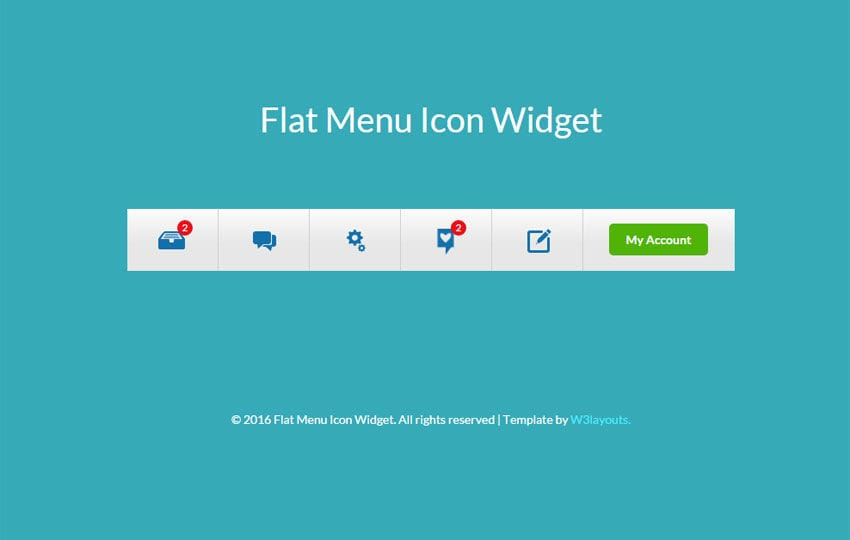 Flat Menu Icon Responsive Widget Template Mobile website template Free