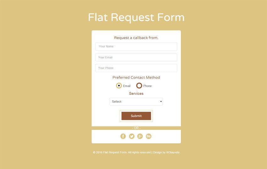 Flat Request Form Responsive Widget Template Mobile website template Free