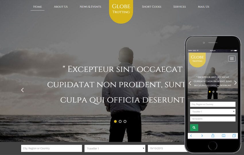 Globe Trotting a Travel Flat Bootstrap Responsive web template Mobile website template Free