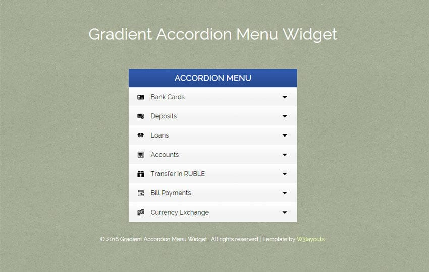 Gradient Accordion Menu Responsive Widget Template Mobile website template Free